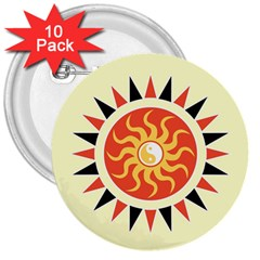 Yin Yang Sunshine 3  Buttons (10 Pack)  by linceazul