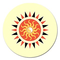 Yin Yang Sunshine Magnet 5  (round) by linceazul