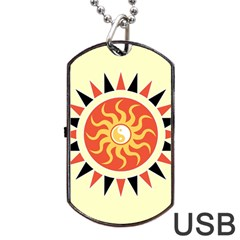 Yin Yang Sunshine Dog Tag Usb Flash (one Side) by linceazul