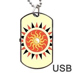 Yin Yang Sunshine Dog Tag Usb Flash (two Sides) by linceazul