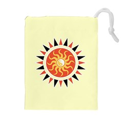 Yin Yang Sunshine Drawstring Pouches (extra Large) by linceazul
