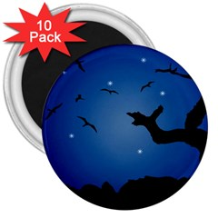 Nightscape Landscape Illustration 3  Magnets (10 Pack)  by dflcprints