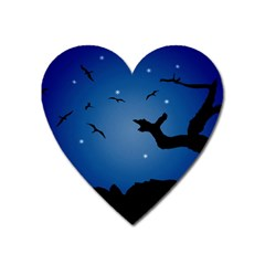 Nightscape Landscape Illustration Heart Magnet by dflcprints