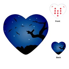 Nightscape Landscape Illustration Playing Cards (heart)  by dflcprints