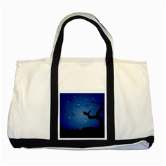 Nightscape Landscape Illustration Two Tone Tote Bag by dflcprints