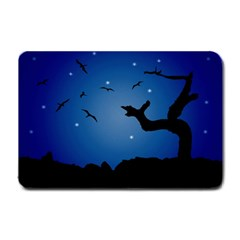 Nightscape Landscape Illustration Small Doormat  by dflcprints