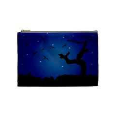 Nightscape Landscape Illustration Cosmetic Bag (medium)  by dflcprints