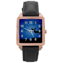 Nightscape Landscape Illustration Rose Gold Leather Watch  by dflcprints