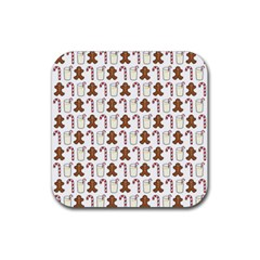 Christmas Trio Pattern Rubber Square Coaster (4 Pack)  by Nexatart