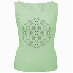 Density Multi Dimensional Gravity Analogy Fractal Circles Women s Green Tank Top