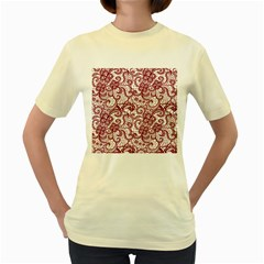 Transparent Lace With Flowers Decoration Women s Yellow T Shirt