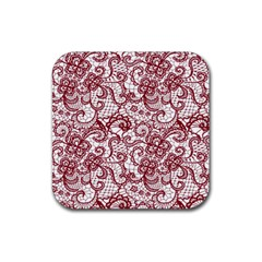 Transparent Lace With Flowers Decoration Rubber Coaster (square)  by Nexatart