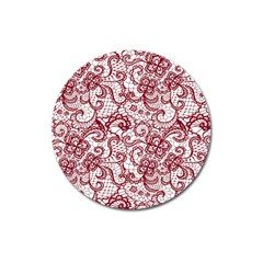 Transparent Lace With Flowers Decoration Magnet 3  (round)