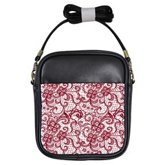 Transparent Lace With Flowers Decoration Girls Sling Bags by Nexatart