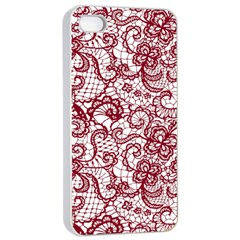 Transparent Lace With Flowers Decoration Apple Iphone 4/4s Seamless Case (white) by Nexatart