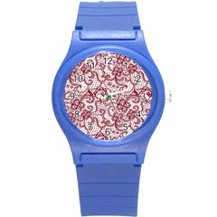 Transparent Lace With Flowers Decoration Round Plastic Sport Watch (s) by Nexatart