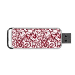 Transparent Lace With Flowers Decoration Portable Usb Flash (one Side) by Nexatart