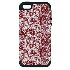 Transparent Lace With Flowers Decoration Apple Iphone 5 Hardshell Case (pc+silicone) by Nexatart