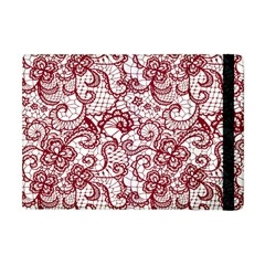Transparent Lace With Flowers Decoration Apple Ipad Mini Flip Case by Nexatart