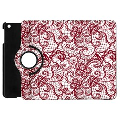 Transparent Lace With Flowers Decoration Apple Ipad Mini Flip 360 Case by Nexatart