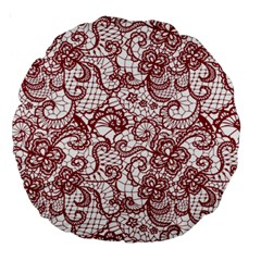 Transparent Lace With Flowers Decoration Large 18  Premium Round Cushions by Nexatart