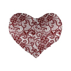 Transparent Lace With Flowers Decoration Standard 16  Premium Flano Heart Shape Cushions by Nexatart