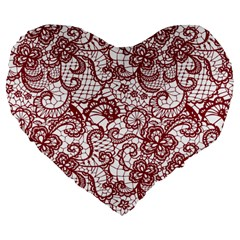 Transparent Lace With Flowers Decoration Large 19  Premium Flano Heart Shape Cushions by Nexatart
