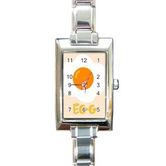 Egg Eating Chicken Omelette Food Rectangle Italian Charm Watch