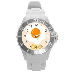 Egg Eating Chicken Omelette Food Round Plastic Sport Watch (l) by Nexatart