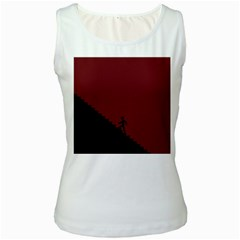 Walking Stairs Steps Person Step Women s White Tank Top