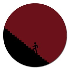 Walking Stairs Steps Person Step Magnet 5  (round) by Nexatart