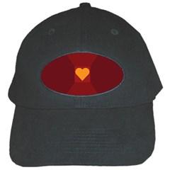 Heart Red Yellow Love Card Design Black Cap