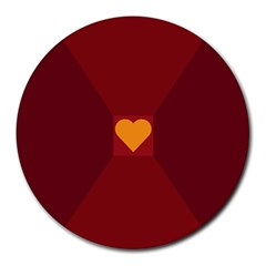 Heart Red Yellow Love Card Design Round Mousepads by Nexatart