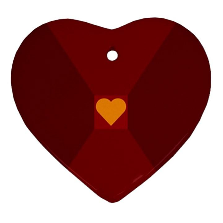 Heart Red Yellow Love Card Design Ornament (Heart)