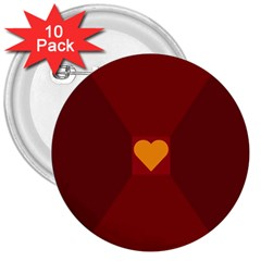 Heart Red Yellow Love Card Design 3  Buttons (10 Pack)