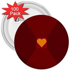 Heart Red Yellow Love Card Design 3  Buttons (100 Pack)  by Nexatart