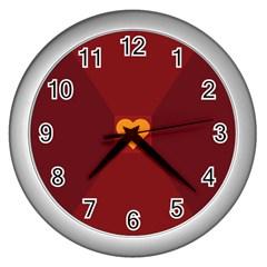 Heart Red Yellow Love Card Design Wall Clocks (silver)  by Nexatart