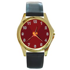 Heart Red Yellow Love Card Design Round Gold Metal Watch