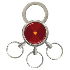 Heart Red Yellow Love Card Design 3 Ring Key Chains by Nexatart