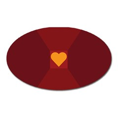 Heart Red Yellow Love Card Design Oval Magnet by Nexatart