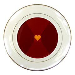 Heart Red Yellow Love Card Design Porcelain Plates by Nexatart