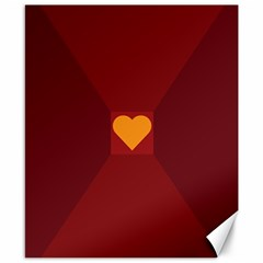 Heart Red Yellow Love Card Design Canvas 8  X 10