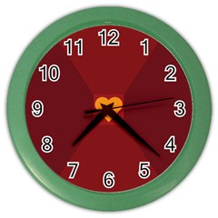 Heart Red Yellow Love Card Design Color Wall Clocks by Nexatart