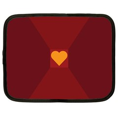 Heart Red Yellow Love Card Design Netbook Case (large)