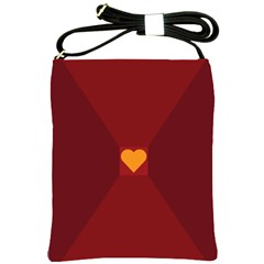 Heart Red Yellow Love Card Design Shoulder Sling Bags by Nexatart