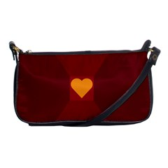Heart Red Yellow Love Card Design Shoulder Clutch Bags by Nexatart