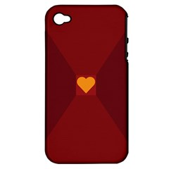 Heart Red Yellow Love Card Design Apple Iphone 4/4s Hardshell Case (pc+silicone)