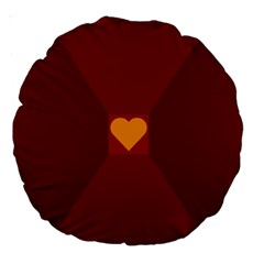Heart Red Yellow Love Card Design Large 18  Premium Round Cushions