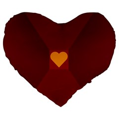 Heart Red Yellow Love Card Design Large 19  Premium Heart Shape Cushions by Nexatart
