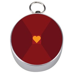 Heart Red Yellow Love Card Design Silver Compasses by Nexatart